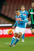 Napoli's Miguel Allan controls the ball during the  italian serie a soccer match,between SSC Napoli and Sassuolo    at  the San  Paolo   stadium in Naples  Italy ,Napoli  wins  3-1