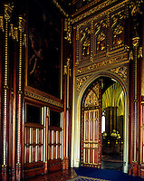A corner of the Royal Gallery in the House of Lords looking through to the Norman Porch