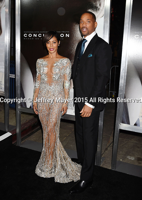 WESTWOOD, CA - NOVEMBER 23: Actors Jada Pinkett Smith and Will Smith attend the screening of Columbia Pictures' 'Concussion' at the Regency Village Theater on November 23, 2015 in Westwood, California.