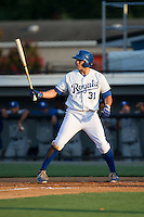 Brandon Dulin (31) of the Burlington Royals at bat against the Bluefield Blue Jays at Burlington Athletic Park on June 29, 2015 in Burlington, North Carolina.  The Royals defeated the Blue Jays 4-1. (Brian Westerholt/Four Seam Images)