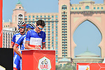 French National Champion Anthony Roux (FRA) Groupama-FDJ signs on before the start of Stage 4 of the 2019 UAE Tour, running 197km form The Pointe Palm Jumeirah to Hatta Dam, Dubai, United Arab Emirates. 26th February 2019.<br /> Picture: LaPresse/Massimo Paolone | Cyclefile<br /> <br /> <br /> All photos usage must carry mandatory copyright credit (© Cyclefile | LaPresse/Massimo Paolone)