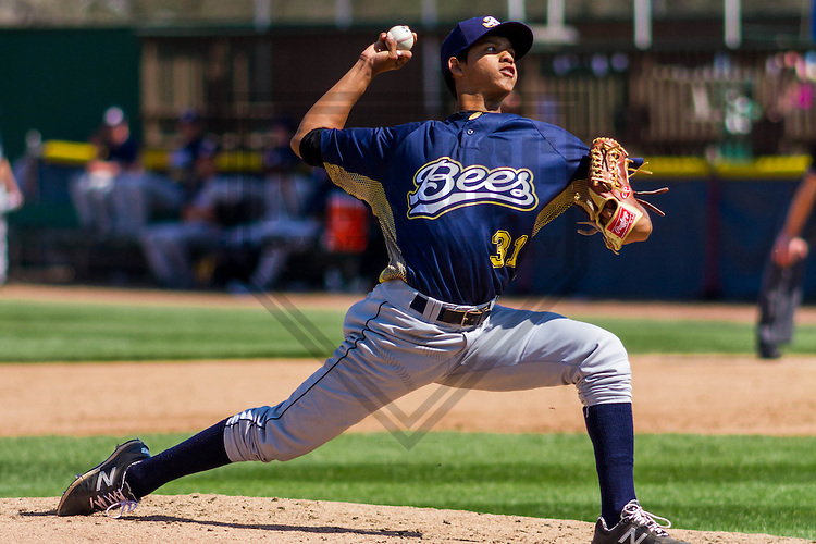 Burlington Bees pitcher Jose Rodriguez (31) during a Midwest League game against the Beloit Snappers on April 17th, 2016 at Pohlman Field in Beloit, Wisconsin.  Beloit defeated Burlington 6-0. (Brad Krause/Krause Sports Photography)
