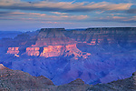 Sunrise light on the North Rim of the Grand Canyon, from Desert View, Grand Canyon Nat. Pk., ARIZONA