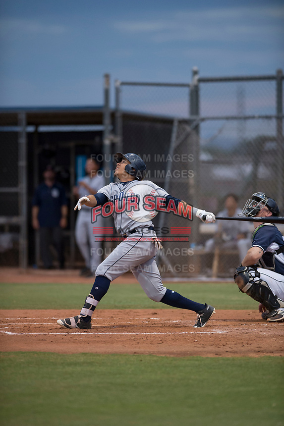 AZL Padres 1 center fielder Jawuan Harris (13) follows through on his swing during an Arizona League game against the AZL Padres 2 at Peoria Sports Complex on July 14, 2018 in Peoria, Arizona. The AZL Padres 1 defeated the AZL Padres 2 4-0. (Zachary Lucy/Four Seam Images)