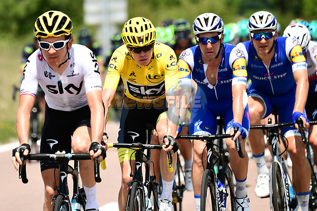 The peloton including race leader Christopher Froome (GBR) Team Sky in action during Stage 7 of the 104th edition of the Tour de France 2017, running 213.5km from Troyes to Nuits-Saint-Georges, France. 7th July 2017.<br /> Picture: ASO/Alex Broadway | Cyclefile<br /> <br /> <br /> All photos usage must carry mandatory copyright credit (&copy; Cyclefile | ASO/Alex Broadway)