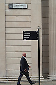 Street signpost to Bank of England, Threadneedle Street, City of London.
