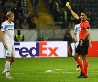 Gelb-Rot für Dusan Basta (Lazio Rom) - 04.10.2018: Eintracht Frankfurt vs. Lazio Rom, UEFA Europa League 2. Spieltag, Commerzbank Arena, DISCLAIMER: DFL regulations prohibit any use of photographs as image sequences and/or quasi-video.
