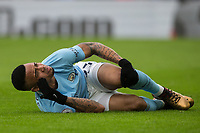 Gabriel Jesus of Manchester City goes down. Injured holding his knee during the Premier League match between Crystal Palace and Manchester City at Selhurst Park, London, England on 31 December 2017. Photo by Andy Rowland.