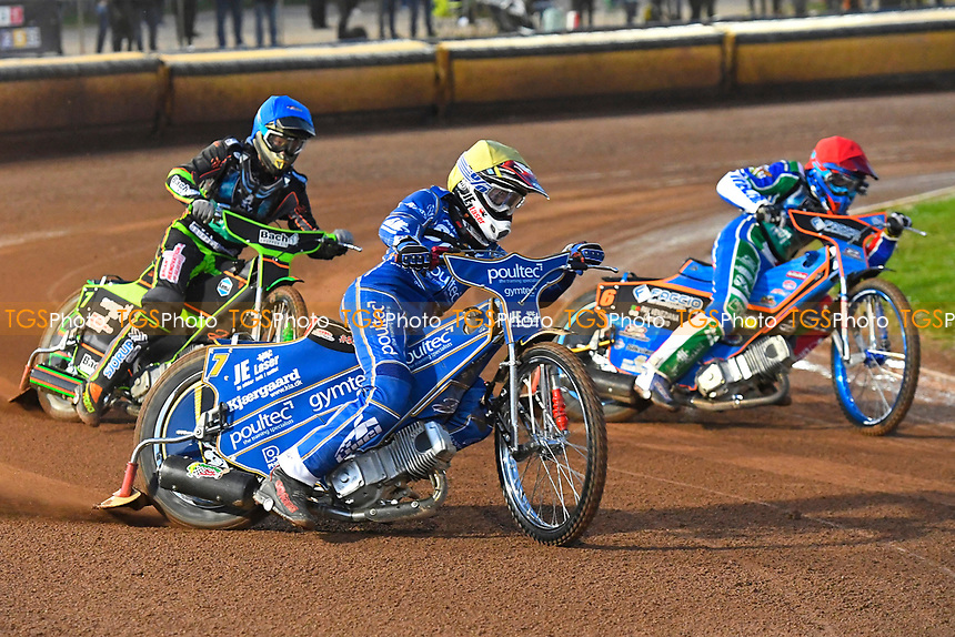 Kasper Andersen of King's Lynn Stars leads in Heat2 during Poole Pirates vs King's Lynn Stars, SGB Premiership Shield Speedway at The Stadium on 11th April 2019