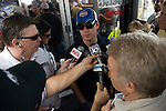 13 June 2008: Jimmie Johnson is interviewed at the LifeLock 400 at Michigan International Speedway, Brooklyn, Michigan, USA.