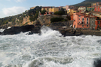 - the small ancient village of Tellaro during a sea storm....- il piccolo paese antico di Tellaro durante una mareggiata