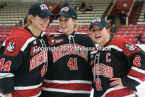 Stephanie Gavronsky (Northeastern - 44), Florence Schelling (Northeastern - 41), Dani Rylan (Northeastern - 2) - The Northeastern University Huskies defeated the Boston University Terriers 4-3 in overtime to win the 2012 Beanpot championship on Tuesday, February 7, 2012, at Walter Brown Arena in Boston, Massachusetts.