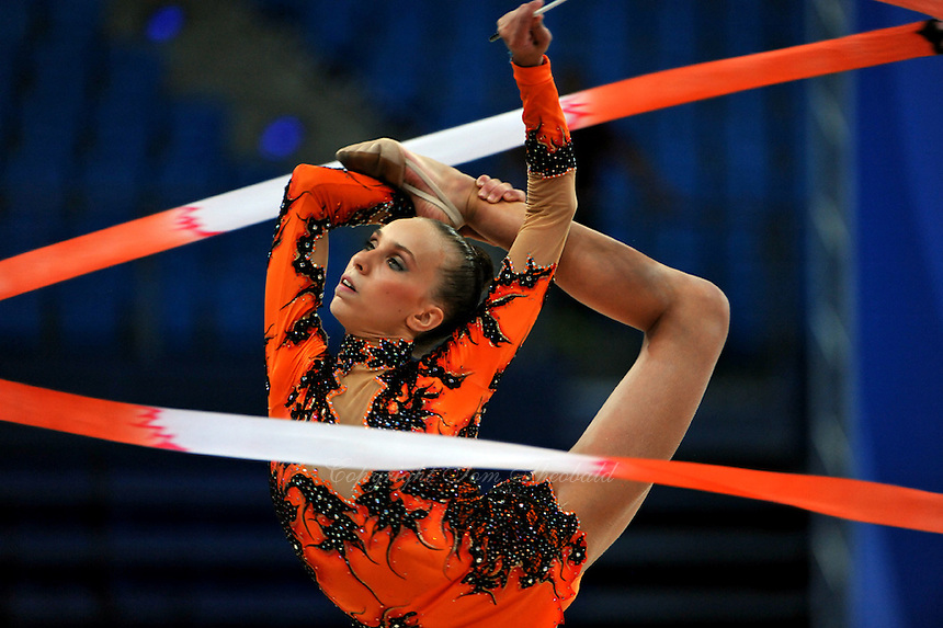 Martina Alicata Terranova of Italy performs with ribbon at 2010 Pesaro World Cup on August 28, 2010 at Pesaro, Italy.  Photo by Tom Theobald.