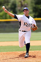 Justin Hall (16) Pitcher for the GCL Rays delivers a pitch during a game against the GCL Twins on July 16th, 2010 at Charlotte Sports Park in Port Charlotte Florida. The GCL Rays are the the Gulf Coast Rookie League affiliate of the Tampa Bay Rays. Photo by: Mark LoMoglio/Four Seam Images