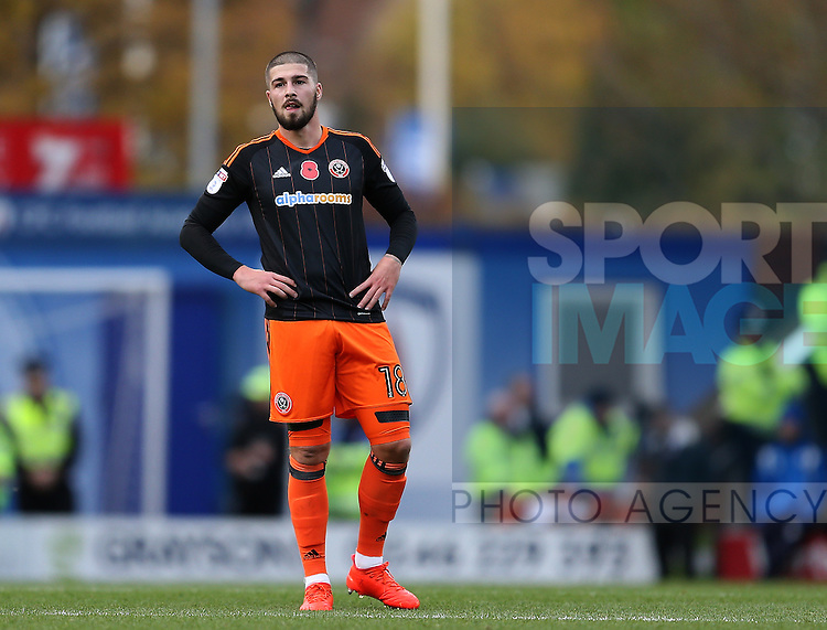 Kieron Freeman of Sheffield Utd during the English League One match at the Proact Stadium, Chesterfield. Picture date: November 13th, 2016. Pic Simon Bellis/Sportimage