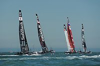 SoftBank Team Japan, JULY 23, 2016 - Sailing: (L-R) SoftBank Team Japan, Oracle Team USA, Emirates Team New Zealand, Groupama Team France and Land Rover BAR during day one of the Louis Vuitton America's Cup World Series racing, Portsmouth, United Kingdom. (Photo by Rob Munro/Stewart Communications)
