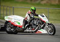Jun. 15, 2012; Bristol, TN, USA: NHRA top fuel Harley motorcycle rider Ray Price during qualifying for the Thunder Valley Nationals at Bristol Dragway. Mandatory Credit: Mark J. Rebilas-
