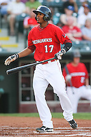 Jimmy Paredes (17) in action during the MiLB matchup between the New Orleans Zephyrs and the Oklahoma City Redhawks at Chickasaw Bricktown Ballpark on June 10th, 2012 in Oklahoma City, Oklahoma. The Redhawks defeated the Zephyrs 12-9  (William Purnell/Four Seam Images)
