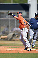 Houston Astros first baseman Conrad Gregor (37) waits for a throw during a minor league spring training game against the Detroit Tigers on March 21, 2014 at Osceola County Complex in Kissimmee, Florida.  (Mike Janes/Four Seam Images)