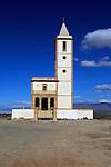 Historic church near Las Salinas, La Almadraba de Monteleva, Cabo de Gata natural park, Nijar, Almeria, Spain