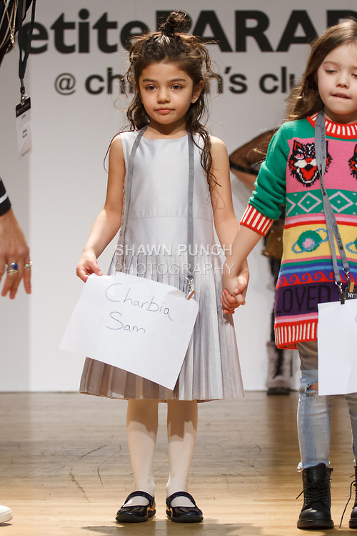 Behind the scenes at the petitePARADE fashion show at Children's Club in the Jacob Javits Center in New York City on February 25, 2018.