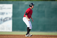 Gavin Sheets (23) of the Kannapolis Intimidators takes his lead off of second base against the Hagerstown Suns at Kannapolis Intimidators Stadium on July 9, 2017 in Kannapolis, North Carolina.  The Intimidators defeated the Suns 3-2 in game two of a double-header.  (Brian Westerholt/Four Seam Images)