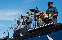 HALLANDALE BEACH, FL - JANUARY 27: A jazz band performs on Pegasus World Cup Invitational Day at Gulfstream Park Race Track on January 27, 2018 in Hallandale Beach, Florida. (Photo by Liz Lamont/Eclipse Sportswire/Getty Images)