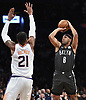 Jared Dudley #6 of the Brooklyn Nets drains a three-pointer during an NBA game against the Phoenix Suns at the Barclays Center in Brooklyn, NY on Sunday, Dec. 23, 2018. The Nets won by score of 111-103.