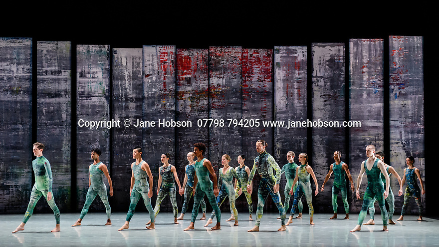 Rambert presents RAMBERT EVENT, by Merce Cunningham, at Sadler's Wells. Choreography by Merce Cunningham, staging by Jeannie Steele, Music by Philip Selway, Quinta and Adem Ilhan, designs inspired by Gerhard Richter's 'Cage' series, performed by Rambert. The picture shows: The Company.