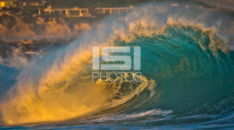 Newport Beach, CA. - August 26, 2014: The infamous Wedge big wave surfing location breaks her slumber and comes alive during the hurricane Marie swell of August 2014.