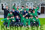 St Brendan's Captain Neil O'Shea celebrates with his teammates at their home coming at the school on Wednesday after wnning the All Ireland soccer final on Tuesday