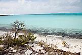 EXUMA, Bahamas. A beach and the coasline of Compass Cay.