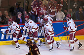 Jarid Lukosevicius (DU - 14), Troy Terry (DU - 19), Michael Davies (DU - 21), Dylan Gambrell (DU - 7), Blake Hillman (DU - 25) - The University of Denver Pioneers defeated the University of Minnesota Duluth Bulldogs 3-2 to win the national championship on Saturday, April 8, 2017, at the United Center in Chicago, Illinois.