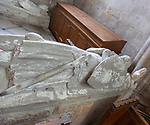 Interior of the priory church at Edington, Wiltshire, England, UK 14th century stone effigy of a knight originally in Imber church