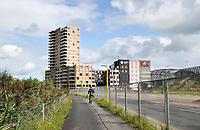 Nederland - Amsterdam - 2019. Nieuwbouw in Amsterdam Noord. Aanleg van een weg.  Rechts ROC Amsterdam.  Foto Berlinda van Dam / Hollandse Hoogte.