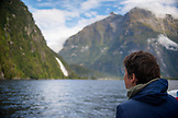 NEW ZEALAND, Fiordland National Park, Woman admiring Lady Bowen Falls, Ben M Thomas