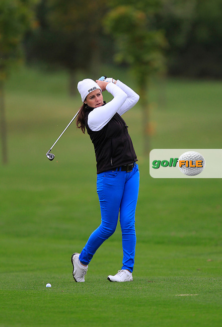 Hazel Kavanagh (Carr Golf Services) on the 14th during Round 4 of The Cassidy Golf 103rd Irish PGA Championship in Roganstown Golf Club on Sunday 13th October 2013.<br /> Picture:  Thos Caffrey / www.golffile.ie