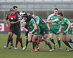 Dragons lock Rynard Landman hauls down Connacht centre David McSharry.<br /> Guiness Pro12<br /> Gwent Dragons v Connacht<br /> Rodney Parade<br /> 22.02.15<br /> ©Steve Pope -SPORTINGWALES