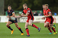 Match action during the Greene King IPA Championship match between London Scottish Football Club and Hartpury RFC at Richmond Athletic Ground, Richmond, United Kingdom on 28 October 2017. Photo by David Horn.