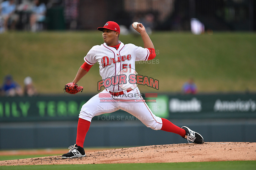 Starting pitcher Darwinzon Hernandez (51) of Greenville Drive delivers a pitch in a game against the Asheville Tourists on Wednesday, May 3, 2017, at Fluor Field at the West End in Greenville, South Carolina. Greenville won, 8-0. (Tom Priddy/Four Seam Images)