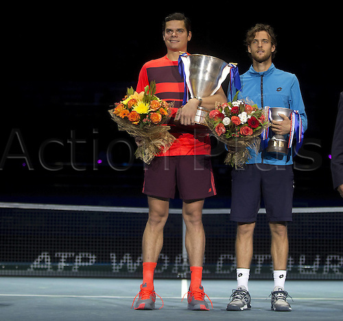 27.09.2015. Sibur Arena, St Peterburg, Russia. ATP St Petersburg singles final. MILOS RAONIC (CAN)versus JOAO SOUSA (POR). Raonic won the final in 3 sets 6-3, 3-6, 6-3 to take the title<br />