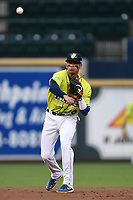 Shortstop Edgardo Fermin (10) of the Columbia Fireflies plays defense in a game against the Greenville Drive on Friday, May 25, 2018, at Spirit Communications Park in Columbia, South Carolina. Columbia won, 3-1. (Tom Priddy/Four Seam Images)