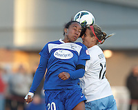 Boston Breakers midfielder Mariah Noguiera (20) and Chicago Red Stars midfielder Leslie Osborne (12) battle for head ball.  In a National Women's Soccer League Elite (NWSL) match, the Boston Breakers (blue) defeated Chicago Red Stars (white), 4-1, at Dilboy Stadium on May 4, 2013.