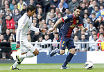 Real Madrid's Raphael Varane (l) and FC Barcelona's David Villa during La Liga match.March 02,2013. (ALTERPHOTOS/Acero)