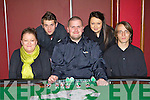 Competing in the Poker classic in the INEC on Friday l-r: Orla O'Sullivan, Jamie Lowe, Paul Vermo, Ciara O'Sullivan and Zsolt Krecsmaide Killarney