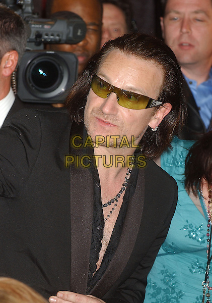 BONO - U2.2005 Rock and Roll Hall of Fame Induction Ceremony held at the Waldorf Astoria, New York, New York.March 14th, 2005.Photo Credit: Laura Farr/AdMedia.headshot portrait stubble facial hair sunglasses shades earrings piercings.www.capitalpictures.com.sales@capitalpictures.com.© Capital Pictures.