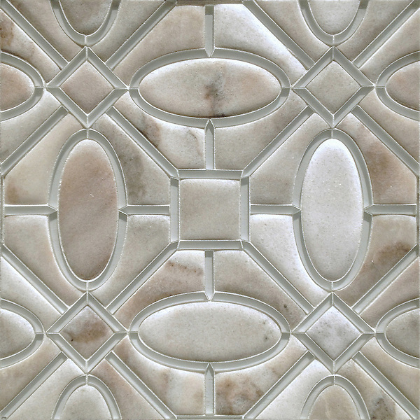 Maxwell, a handmade mosaic shown in Venetian honed Cashmere and Island Fog glass. Designed by Sara Baldwin Designs for New Ravenna.<br />