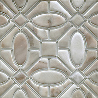 Maxwell, a handmade mosaic shown in Venetian honed Cashmere and Island Fog glass. Designed by Sara Baldwin for New Ravenna.<br />