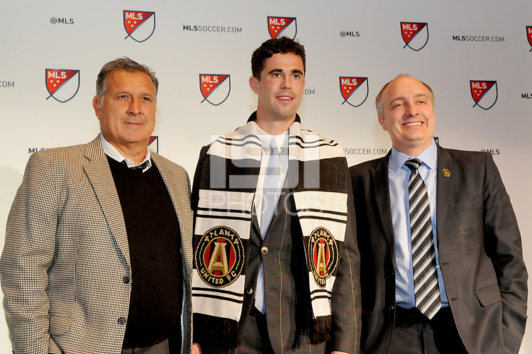 Philadelphia, PA - Thursday January 19, 2018: Oliver Shannon, Gerardo Martino, Paul McDonough during the 2018 MLS SuperDraft at the Pennsylvania Convention Center.