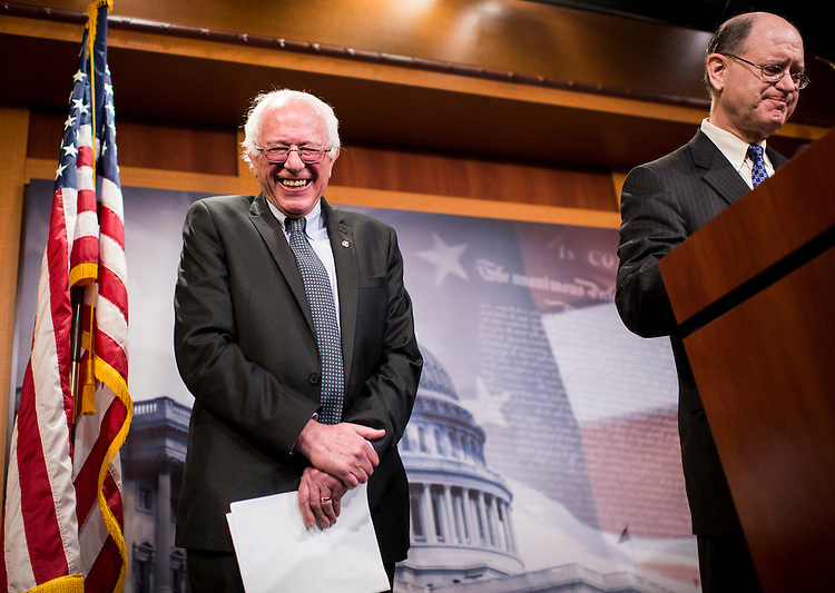 "UNITED STATES - MAY 6: Sen. Bernie Sanders, I-Vt., left, and Rep. Brad Sherman, D-Calif., hold their news conference to unveil legislation to ""break up the nation's biggest banks"" on Wednesday, May 6, 2015. (Photo By Bill Clark/CQ Roll Call)"